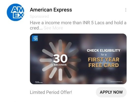 American Express Facebook Messenger Ad