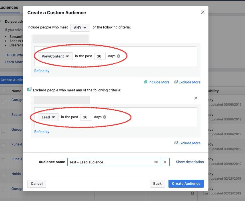 Facebook Lead Generation Custom Audience